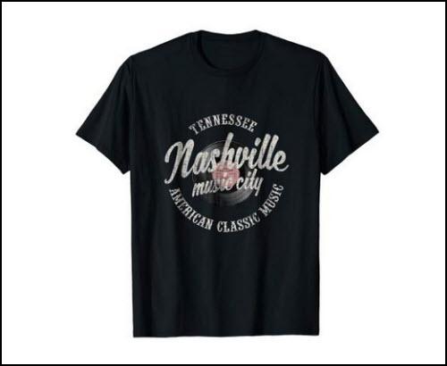 Nashville Music City Vinyl Vintage T-Shirt